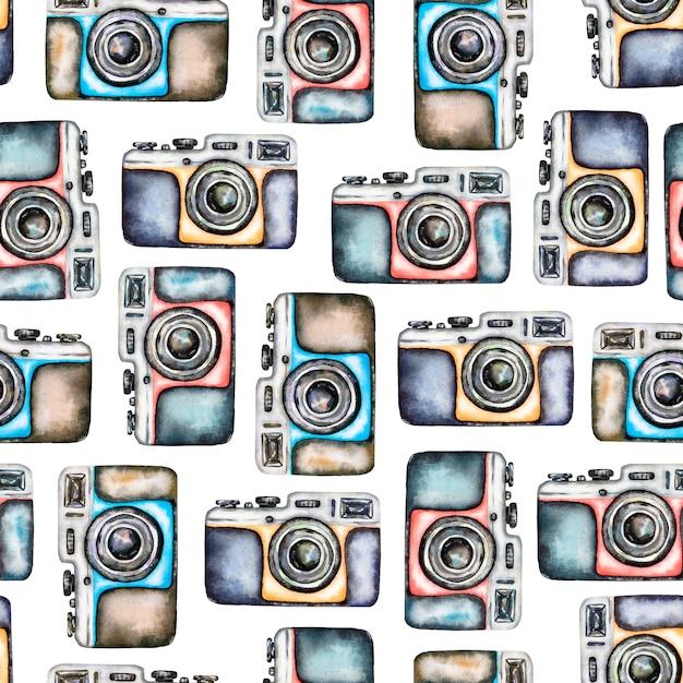 Watercolor camera seamless pattern Premium Photo