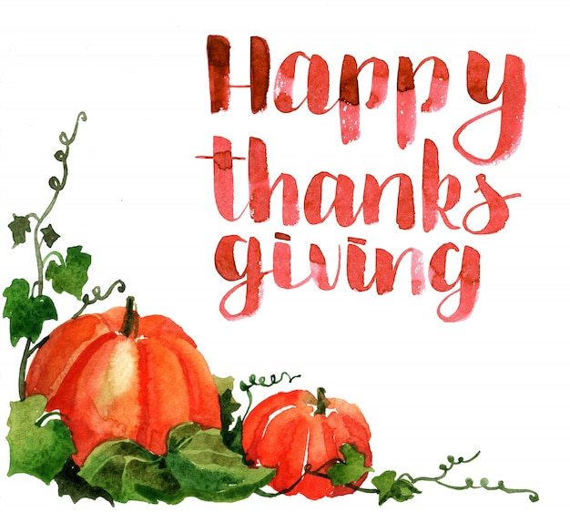 感謝の日を与えるための水彩画カード Premium写真
