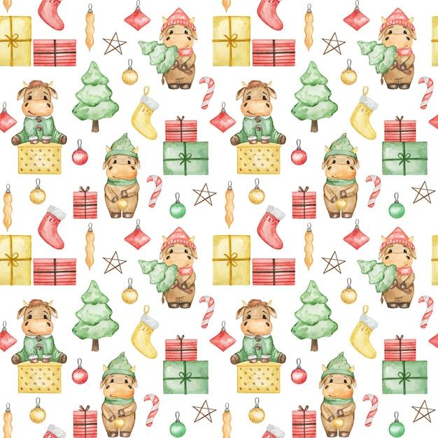 水彩のクリスマスの雄牛2021シームレスパターン、かわいい新年の背景、漫画のクリスマスの壁紙、クリスマスのテキスタイルプリント Premium写真