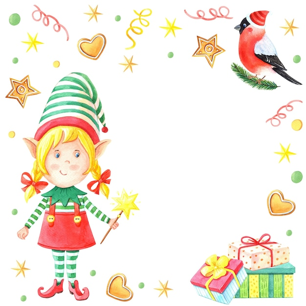 Watercolor christmas card with girl elf with magic wand Premium Photo