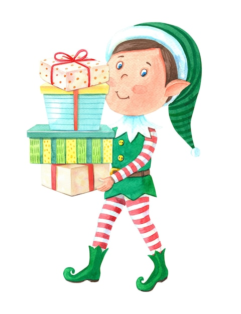 Watercolor christmas elf boy carries gift boxes. Premium Photo