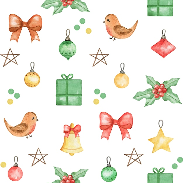 Watercolor christmas pattern, cute baby background, new year hand drawn pattern,winter textile print Premium Photo