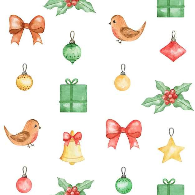 Watercolor christmas seamless pattern, new year cute background, winter bird, xmas pattern design Premium Photo