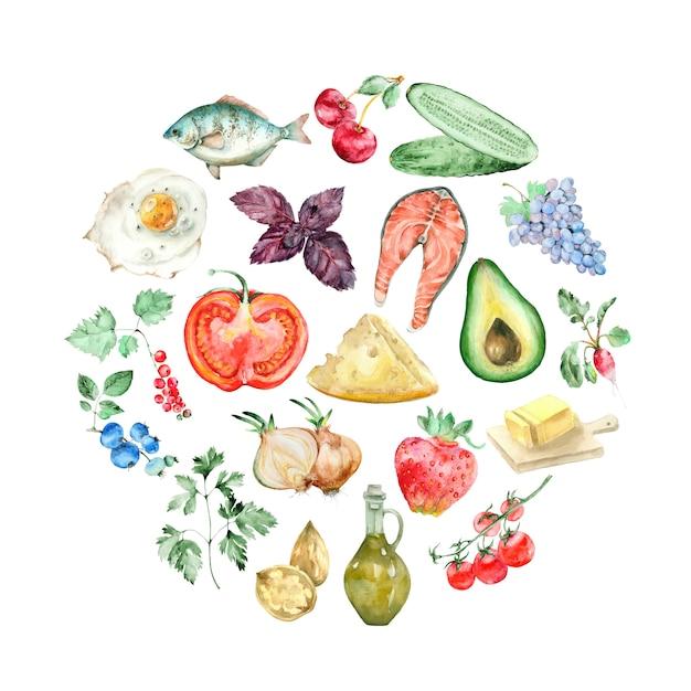 Watercolor circle for keto diet Premium Photo