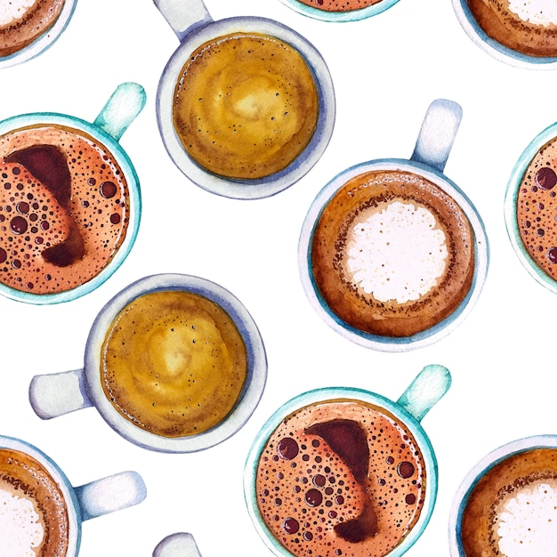 Watercolor coffee cup seamless pattern, top view. Premium Photo