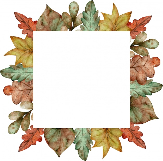 Watercolor colorful square frame of autumn leaves isolated on white background Premium Photo