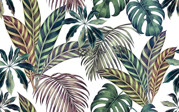 Watercolor colorful tropical leaves seamless pattern background. Premium Photo