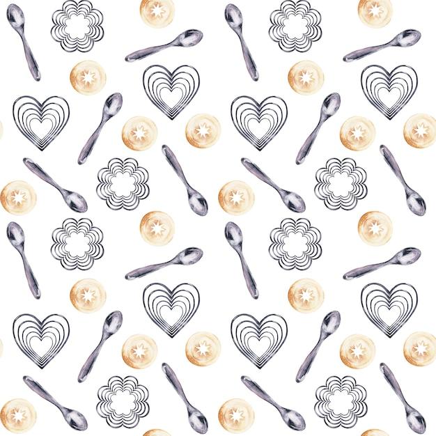 Инструменты для приготовления акварели и праздничные сладости Premium Фотографии