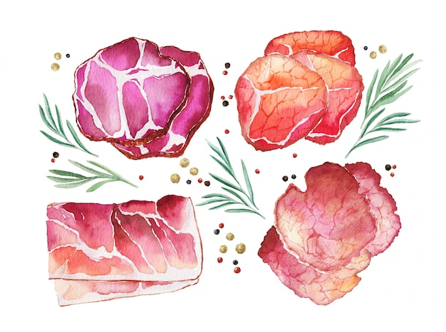 Watercolor cured meat with rosemary and spice Premium Photo
