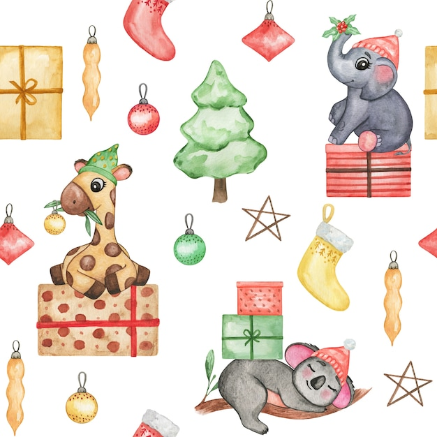 Watercolor cute animals in christmas hat background, christmas baby wallpaper, seamless pattern Premium Photo