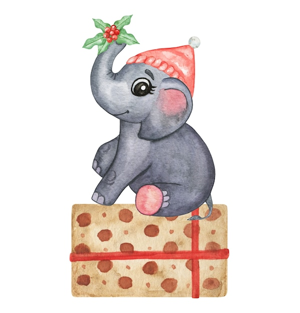 Watercolor cute animals illustration - little elephant, hand drawn set isolated, winer baby decor Premium Photo