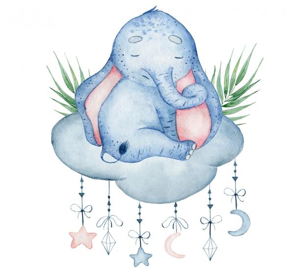 Watercolor cute elephant sitting on the cloud animal hand drawn illustration Premium Photo