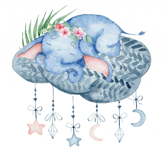 Watercolor cute elephant sleeping on the cloud animal hand drawn illustration Premium Photo