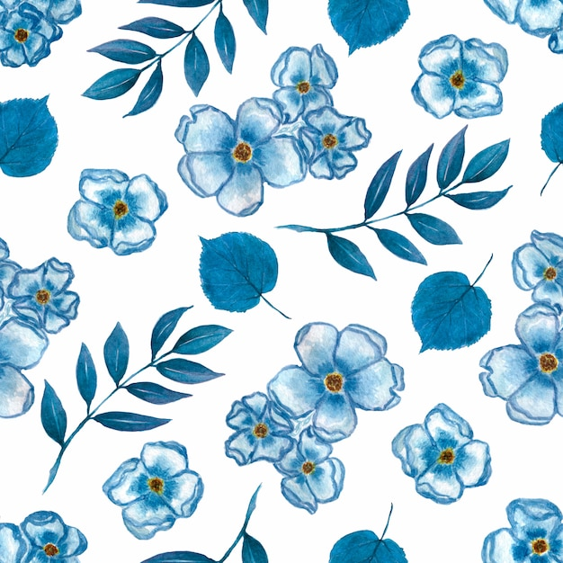 Watercolor cute floral pattern of a small flowers Premium Photo