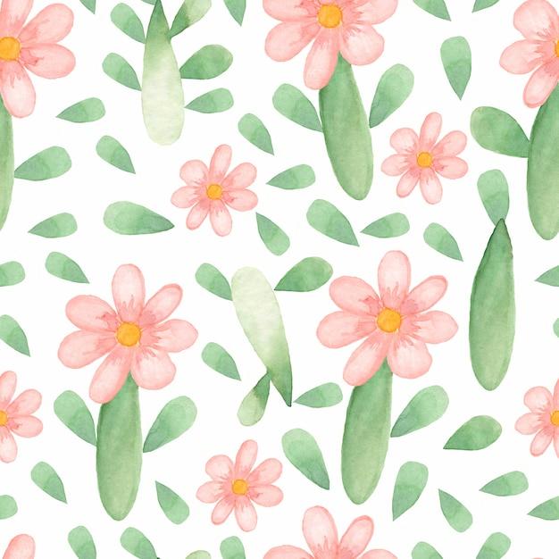Watercolor cute flower pattern Premium Photo