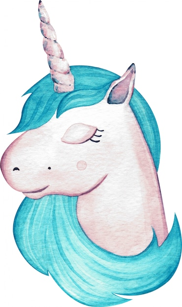 Watercolor cute girl unicorn head with blue hair isolated. hand-drawn illustration. Premium Photo