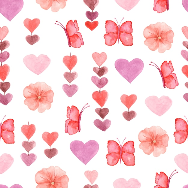 Watercolor cute seamless pattern with flowers, heart and butterfly Premium Photo
