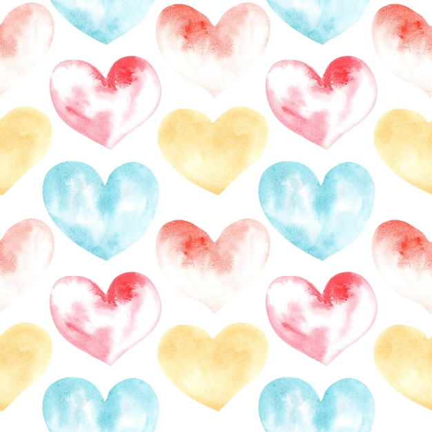 Watercolor drawing seamless pattern of shapes of heart Premium Photo