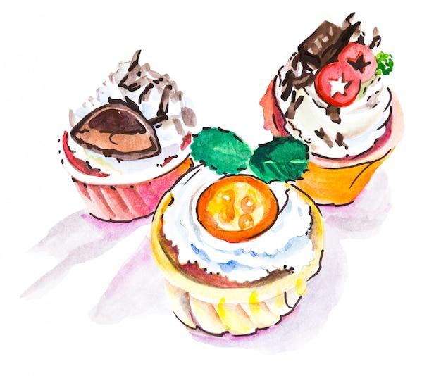 Watercolor drawintg of three different cupcakes Premium Photo