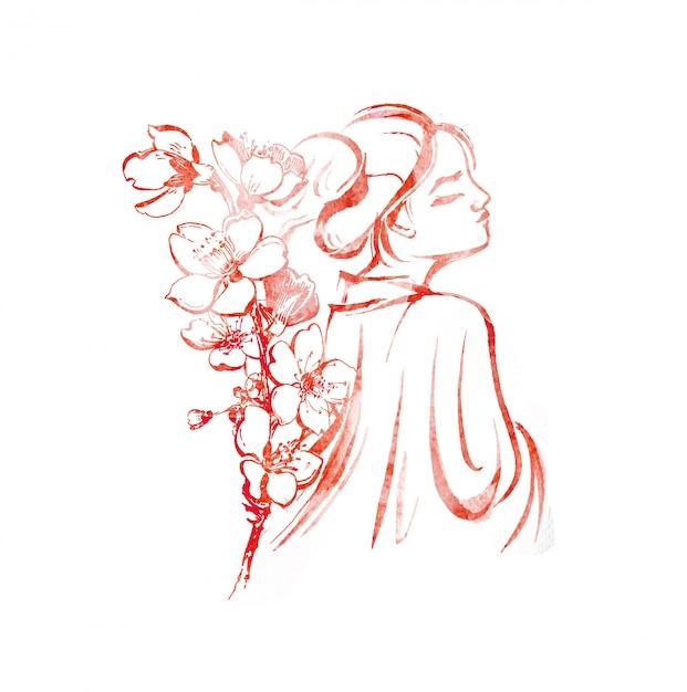 水彩の東の女の子と桜のイラストの枝 Premium写真