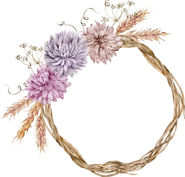 アスターとダリアの花、小麦の耳、ディルの花で飾られた水彩画秋の花輪。感謝祭のイラスト。 Premium写真