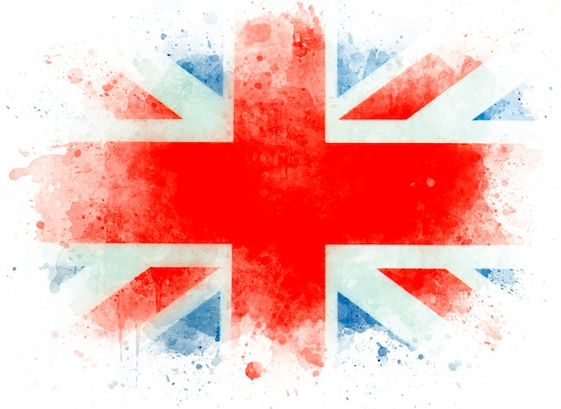 Watercolor flag of great britain. english flag, united kingdom or uk flag on white paper, illustration Premium Photo