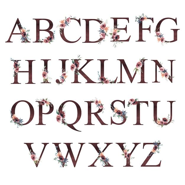 Watercolor floral alphabet Premium Photo