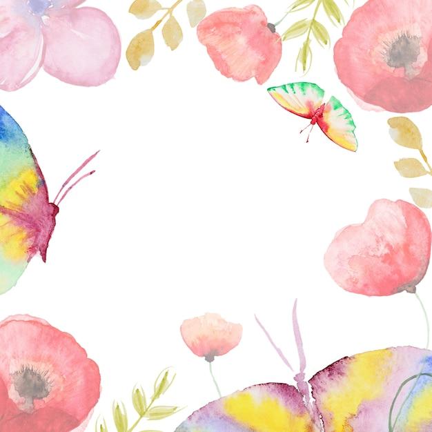 Watercolor flower card Premium Photo