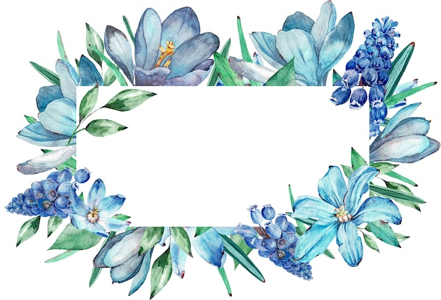 Watercolor frame of blue spring flowers. illustration. Premium Photo