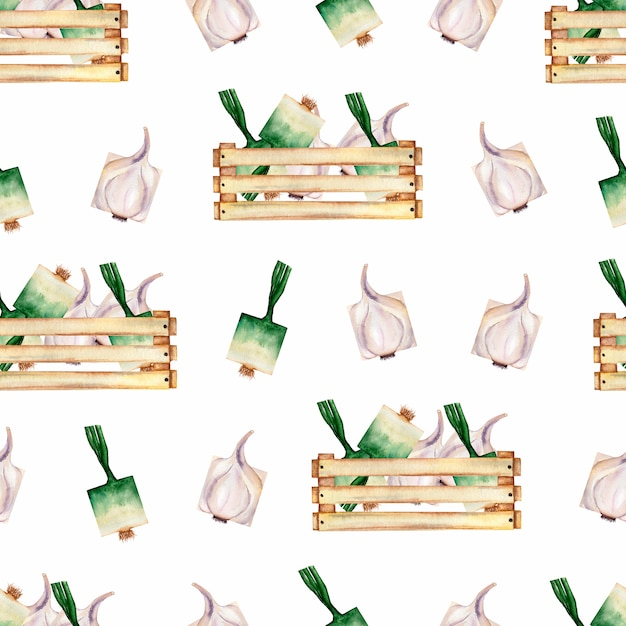 Watercolor garden  organic vegetables seamless pattern and wooden box. Premium Photo