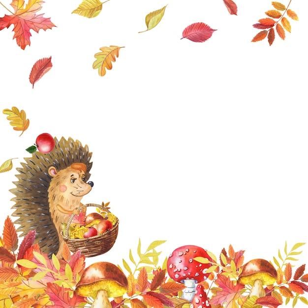 Акварельная открытка с милым ежом и грибами, листьями. осенняя листва. акварельная иллюстрация. Premium Фотографии