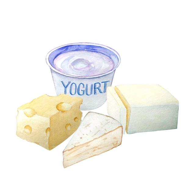 Premium Photo Watercolor Hand Drawn Block Of Butter Yogurt And Cheeses