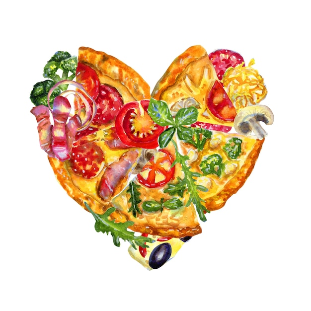 Watercolor hand drawn heart shaped composition with pizza and ingredients on white. Premium Photo