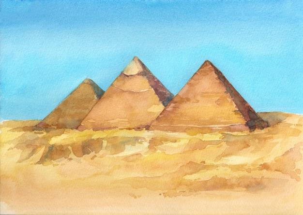 Акварель рисованной иллюстрации египетских пирамид в гизе Premium Фотографии