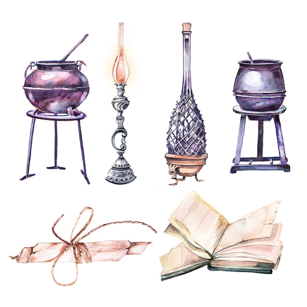 Watercolor hand painted cauldrons, potion bottle, vintage lantern and antique book clipart isolated on white Premium Photo