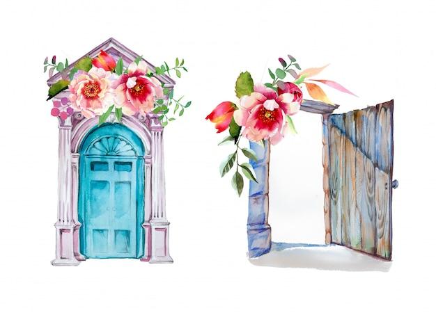 Акварель расписанные вручную старые двери с цветочными узорами антикварные двери иллюстрации. Premium Фотографии