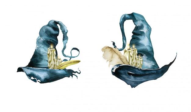 水彩の手描きのキャンドルとウィッチハット。ウィザードの図。ハロウィーンのデザイン。 Premium写真