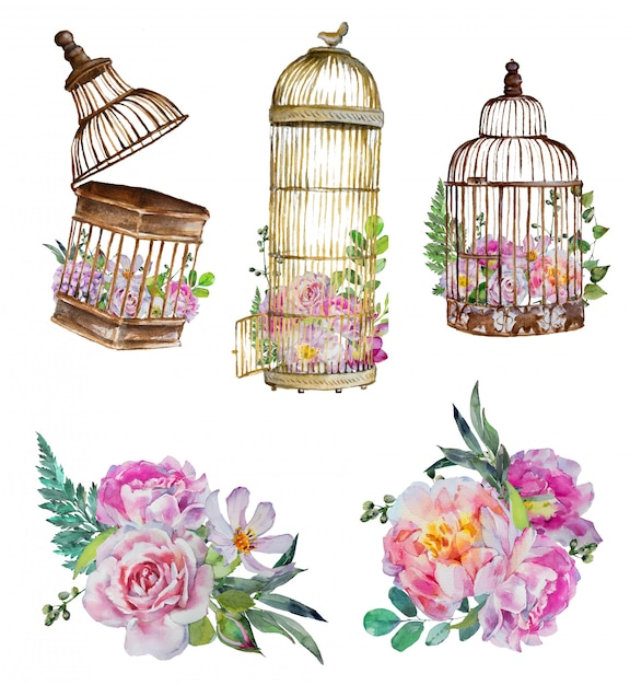 Watercolor handpainted vintage birdcages with flower bouquets. Premium Photo