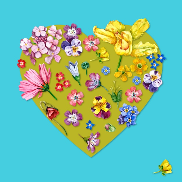 Watercolor heart shaped flowers Premium Photo