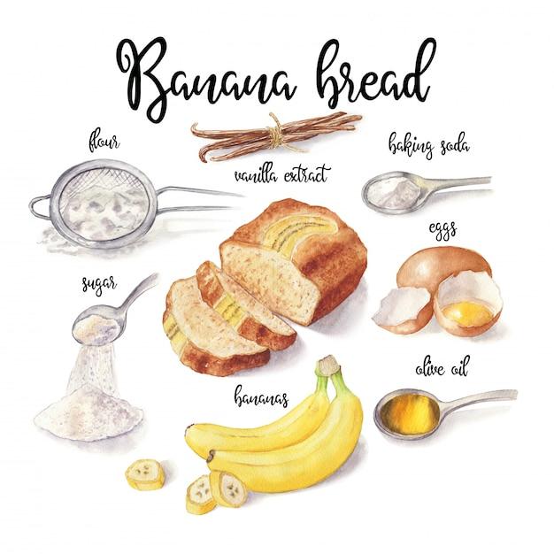 Premium Photo Watercolor Illustration Of Banana Bread Isolated On White