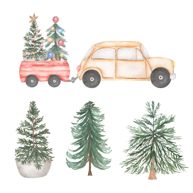 Watercolor illustration. beige car set with christmas tree and gifts Premium Photo