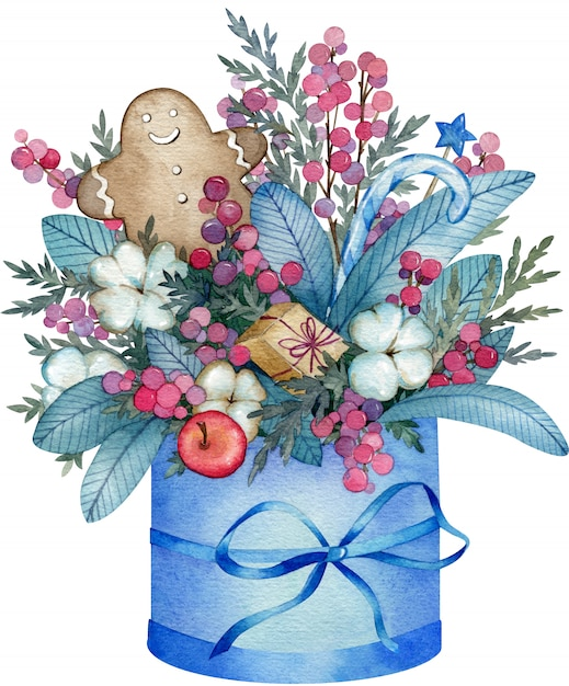 Watercolor illustration of blue winter bouquet made from cotton flowers Premium Photo