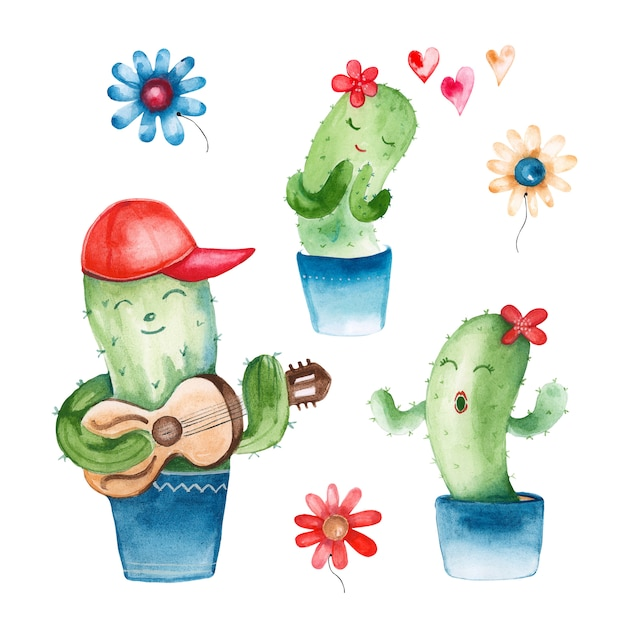 Watercolor illustration of a cactus in a romantic style Premium Photo