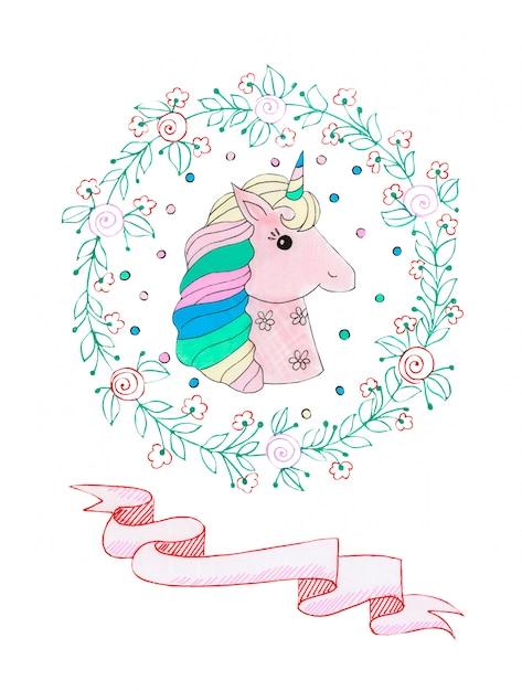 Watercolor illustration of a fabulous pink unicorn Premium Photo