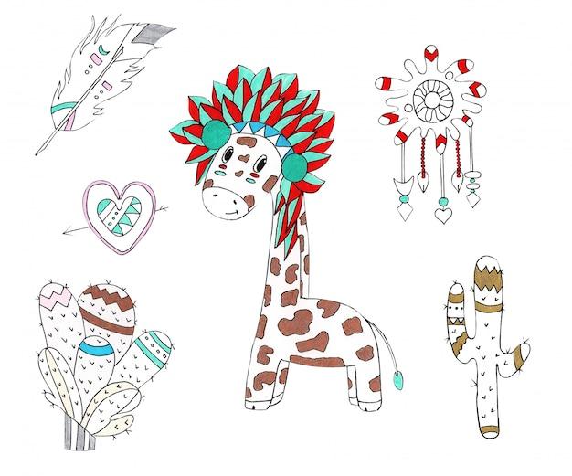 Watercolor illustration of a giraffe in the native style Premium Photo