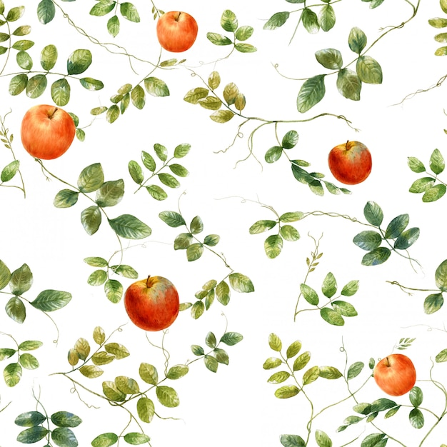 Watercolor illustration of leaf and apple, seamless pattern on white Premium Photo
