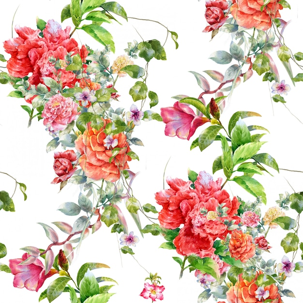 Watercolor illustration of leaf and flowers, seamless pattern on white background Premium Photo