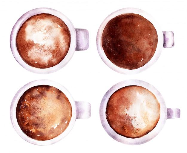 マグカップにホイップミルクとコーヒーとチョコレートの飲み物の水彩イラスト Premium写真