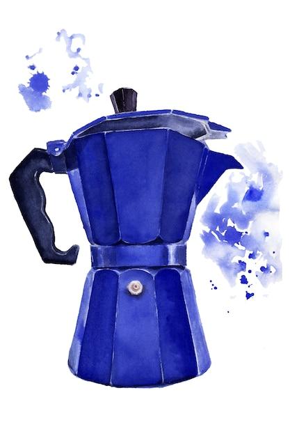 青い間欠泉コーヒーメーカーの水彩画のイメージ Premium写真