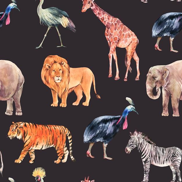 水彩のジャングル、サファリ動物の夏のシームレスなパターン。水彩キリン、象。黒の背景に分離されたシマウマとトラのイラスト Premium写真